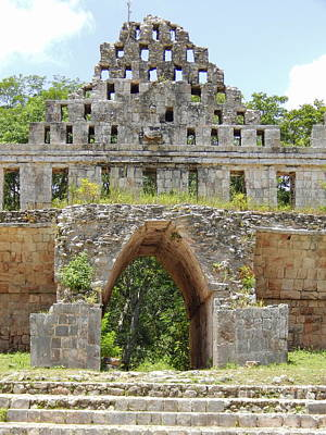 Photograph - Uxmal Pyramid House Of Doves Yucatan Mexico by Michael Hoard