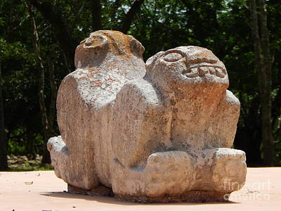 Photograph - Uxmal Two Headed Jaguar Yucatan Mexico by Michael Hoard