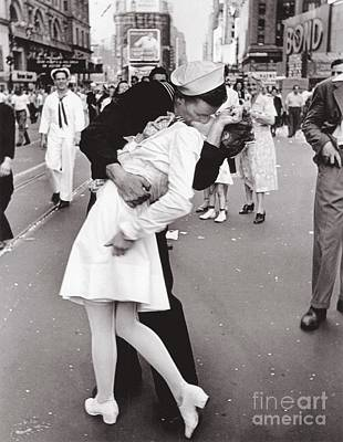 Sailors Girl Photograph - V J Day Times Square - 1945 by Pg Reproductions