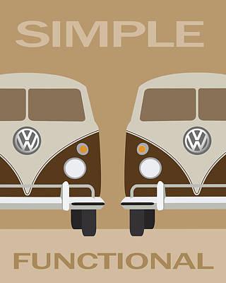 Hippie Van Digital Art - V W Simple by Daniel Hagerman