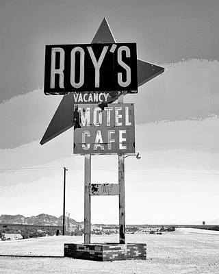 California Watercolor Artists Photograph - Vacancy Bw Route 66 by William Dey Dianovsky