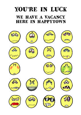Vacancy In Happytown Print by Mark Armstrong
