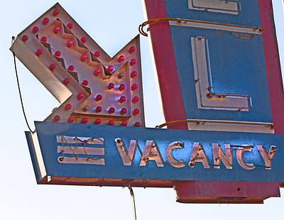 Photograph - Vacancy-neon Lights by April Bielefeldt
