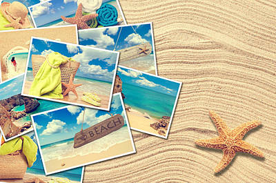 Shell Sign Photograph - Vacation Postcards by Amanda Elwell
