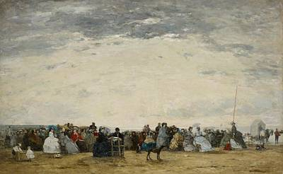 Vacationers On The Beach At Trouville Art Print by Eugene Louis Boudin