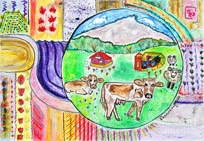 Formes Painting - Vaches Et Moutons / Cows And Sheeps by Dominique Fortier