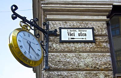 Clock Shop Photograph - Vaci Utca by Galexa Ch