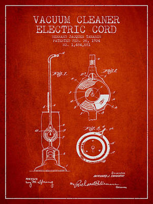 Electronics Digital Art - Vacuum Cleaner Electric Cord Patent From 1924 - Red by Aged Pixel
