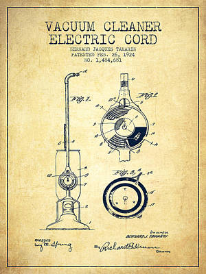 Electronics Digital Art - Vacuum Cleaner Electric Cord Patent From 1924 - Vintage by Aged Pixel