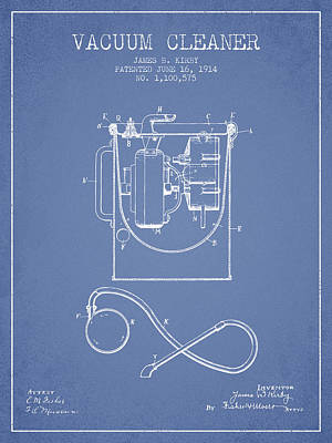 Electronics Digital Art - Vacuum Cleaner Patent From 1914 - Light Blue by Aged Pixel