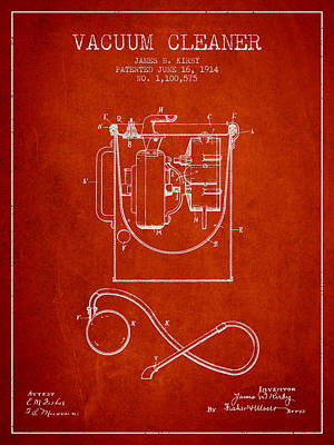 Electronics Digital Art - Vacuum Cleaner Patent From 1914 - Red by Aged Pixel
