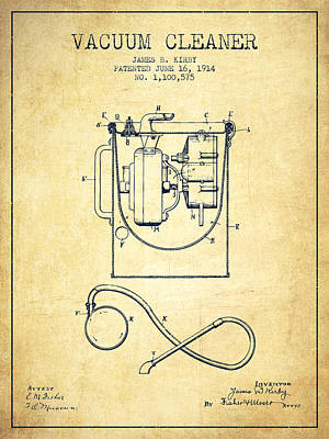 Electronics Digital Art - Vacuum Cleaner Patent From 1914 - Vintage by Aged Pixel
