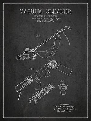Electronics Digital Art - Vacuum Cleaner Patent From 1936 - Dark by Aged Pixel