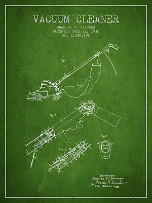Electronics Digital Art - Vacuum Cleaner Patent From 1936 - Green by Aged Pixel
