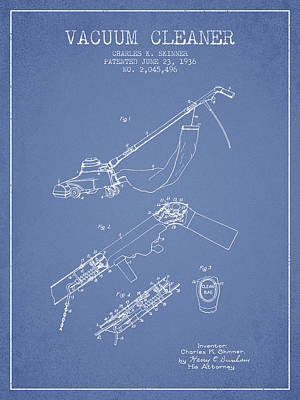 Electronics Digital Art - Vacuum Cleaner Patent From 1936 - Light Blue by Aged Pixel
