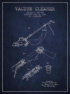 Electronics Digital Art - Vacuum Cleaner Patent From 1936 - Navy Blue by Aged Pixel