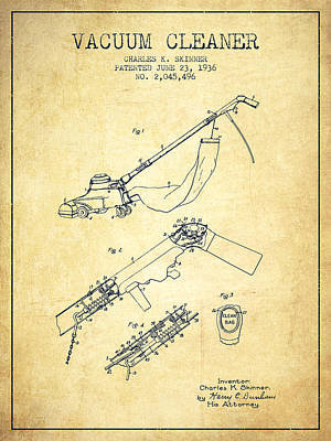 Electronics Digital Art - Vacuum Cleaner Patent From 1936 - Vintage by Aged Pixel