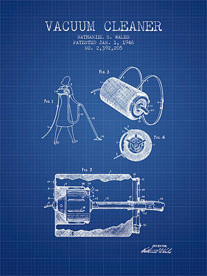 Electronics Digital Art - Vacuum Cleaner Patent From 1946 - Blueprint by Aged Pixel