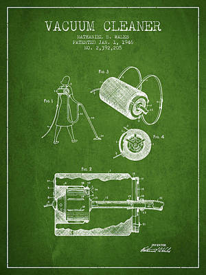 Electronics Digital Art - Vacuum Cleaner Patent From 1946 - Green by Aged Pixel