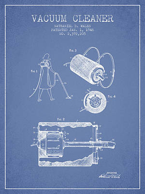 Electronics Digital Art - Vacuum Cleaner Patent From 1946 - Light Blue by Aged Pixel