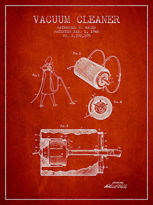 Electronics Digital Art - Vacuum Cleaner Patent From 1946 - Red by Aged Pixel