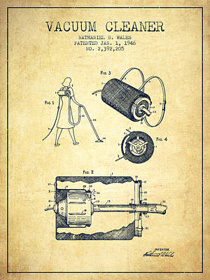 Electronics Digital Art - Vacuum Cleaner Patent From 1946 - Vintage by Aged Pixel