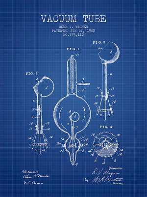Vacuum Tube Patent From 1905 - Blueprint Art Print