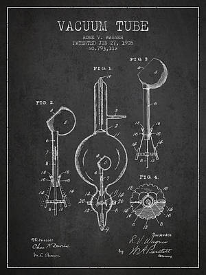 Electric Current Drawing - Vacuum Tube Patent From 1905 - Charcoal by Aged Pixel
