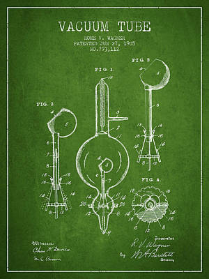 Electric Current Drawing - Vacuum Tube Patent From 1905 - Green by Aged Pixel