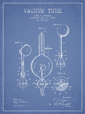 Electric Current Drawing - Vacuum Tube Patent From 1905 - Light Blue by Aged Pixel