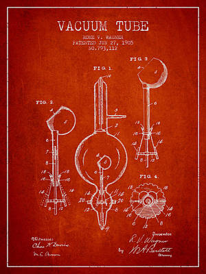 Electric Current Drawing - Vacuum Tube Patent From 1905 - Red by Aged Pixel