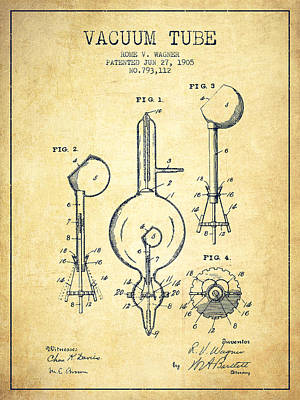 Electric Current Drawing - Vacuum Tube Patent From 1905 - Vintage by Aged Pixel