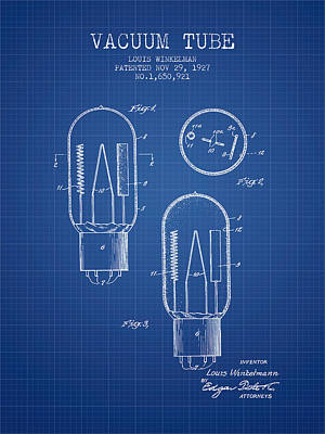 Vacuum Tube Patent From 1927 - Blueprint Art Print