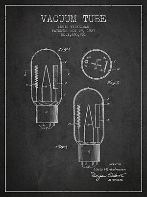 Vacuum Tube Patent From 1927 - Charcoal Art Print