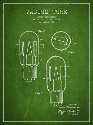 Electric Current Drawing - Vacuum Tube Patent From 1927 - Green by Aged Pixel