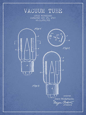 Electric Current Drawing - Vacuum Tube Patent From 1927 - Light Blue by Aged Pixel