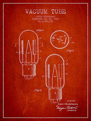 Electric Current Drawing - Vacuum Tube Patent From 1927 - Red by Aged Pixel