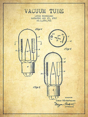 Electric Current Drawing - Vacuum Tube Patent From 1927 - Vintage by Aged Pixel