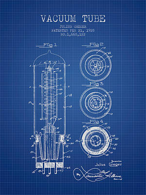 Vacuum Tube Patent From 1928 - Blueprint Art Print