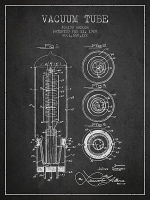 Vacuum Tube Patent From 1928 - Charcoal Art Print