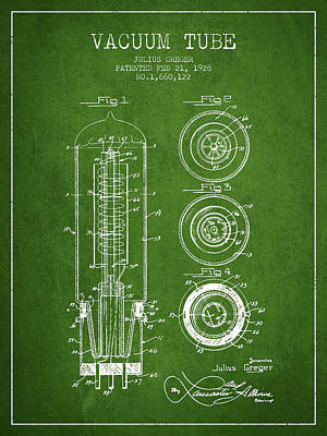 Vacuum Tube Patent From 1928 - Green Art Print