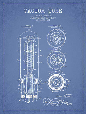 Vacuum Tube Patent From 1928 - Light Blue Art Print
