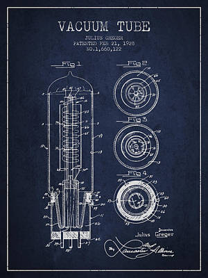Vacuum Tube Patent From 1928 - Navy Blue Art Print