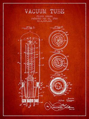 Vacuum Tube Patent From 1928 - Red Art Print