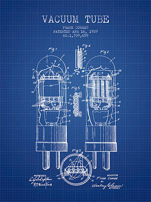 Vacuum Tube Patent From 1929 - Blueprint Art Print