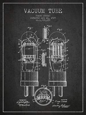 Vacuum Tube Patent From 1929 - Charcoal Art Print