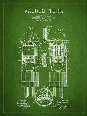 Vacuum Tube Patent From 1929 - Green Art Print