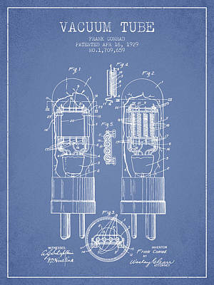 Vacuum Tube Patent From 1929 - Light Blue Art Print