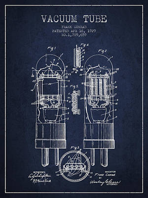 Vacuum Tube Patent From 1929 - Navy Blue Art Print