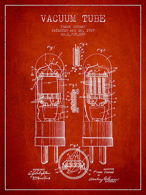 Vacuum Tube Patent From 1929 - Red Art Print